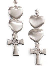 Montana Silversmiths Women's Silver Satin Hearts and Cross Earrings, , hi-res