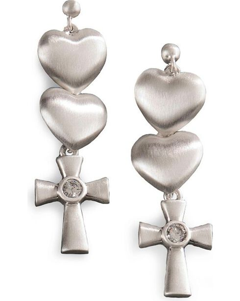 Montana Silversmiths Women's Silver Satin Hearts and Cross Earrings, Silver, hi-res