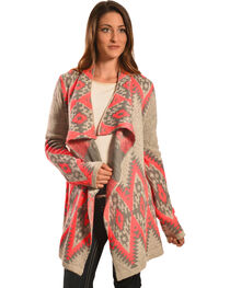 Petrol Women's Pink and Grey Aztec Wrap , , hi-res