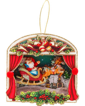 BB Ranch Santa Scene Ornament, No Color, hi-res