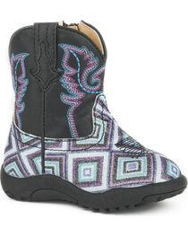 Roper Infant Boys' Cowbaby Glitter Diamonds Pre-Walker Cowboy Boots , , hi-res