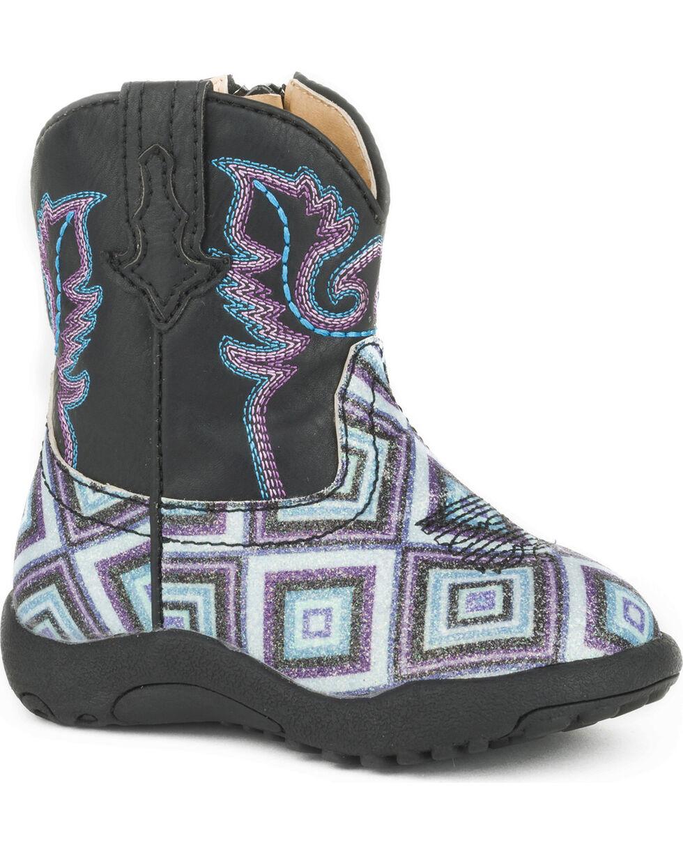 Roper Infant Boys' Cowbaby Glitter Diamonds Pre-Walker Cowboy Boots , Black, hi-res