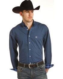 Panhandle Men's Blue Poplin Print Shirt , , hi-res