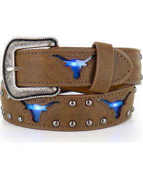 3D Boys' Light Up Longhorn Belt, Brown, hi-res