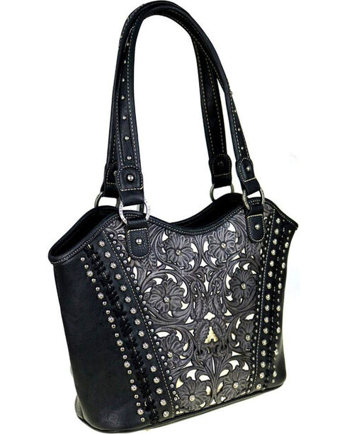 Shyanne Women's Leather Floral Laser Conceal Carry Tote, , hi-res