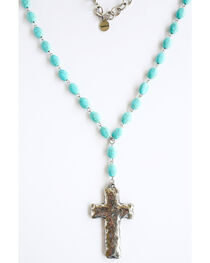 West & Co. Women's Oval Turquoise Cross Necklace, , hi-res