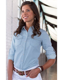 Ryan Michael Women's Embroidered Indigo Shirt, , hi-res
