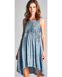Hyku Women's Blue Hi Lo Sleeveless Lace Dress, , hi-res