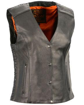 Milwaukee Leather Women's Phoenix Stud Embroidered Snap Front Vest, Black, hi-res