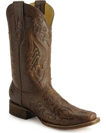 Corral Women's Square Toe Python Inlay Western Boots, , hi-res