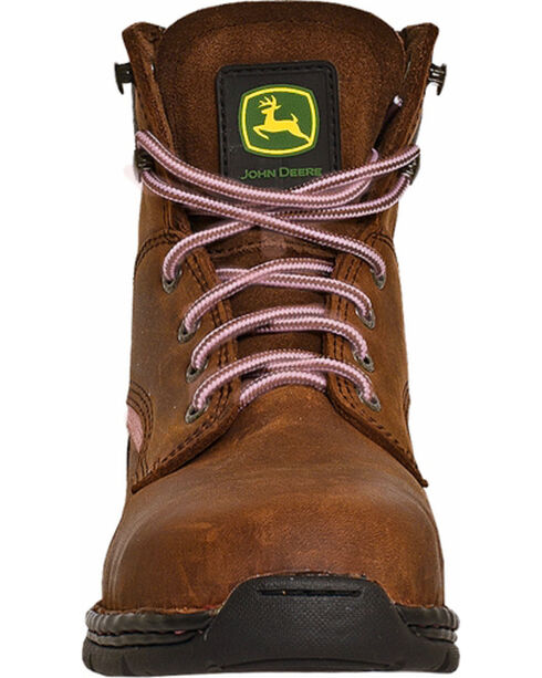 John Deere® Women's Steel Toe Lace-Up Boots, Brown, hi-res