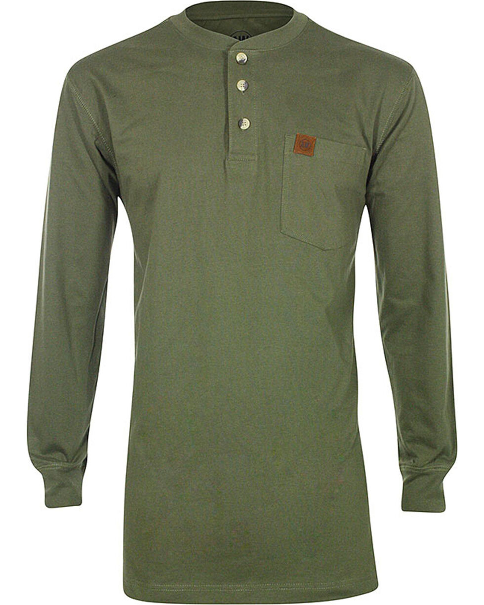 American Worker Men's Rib Knit Henley , Olive, hi-res
