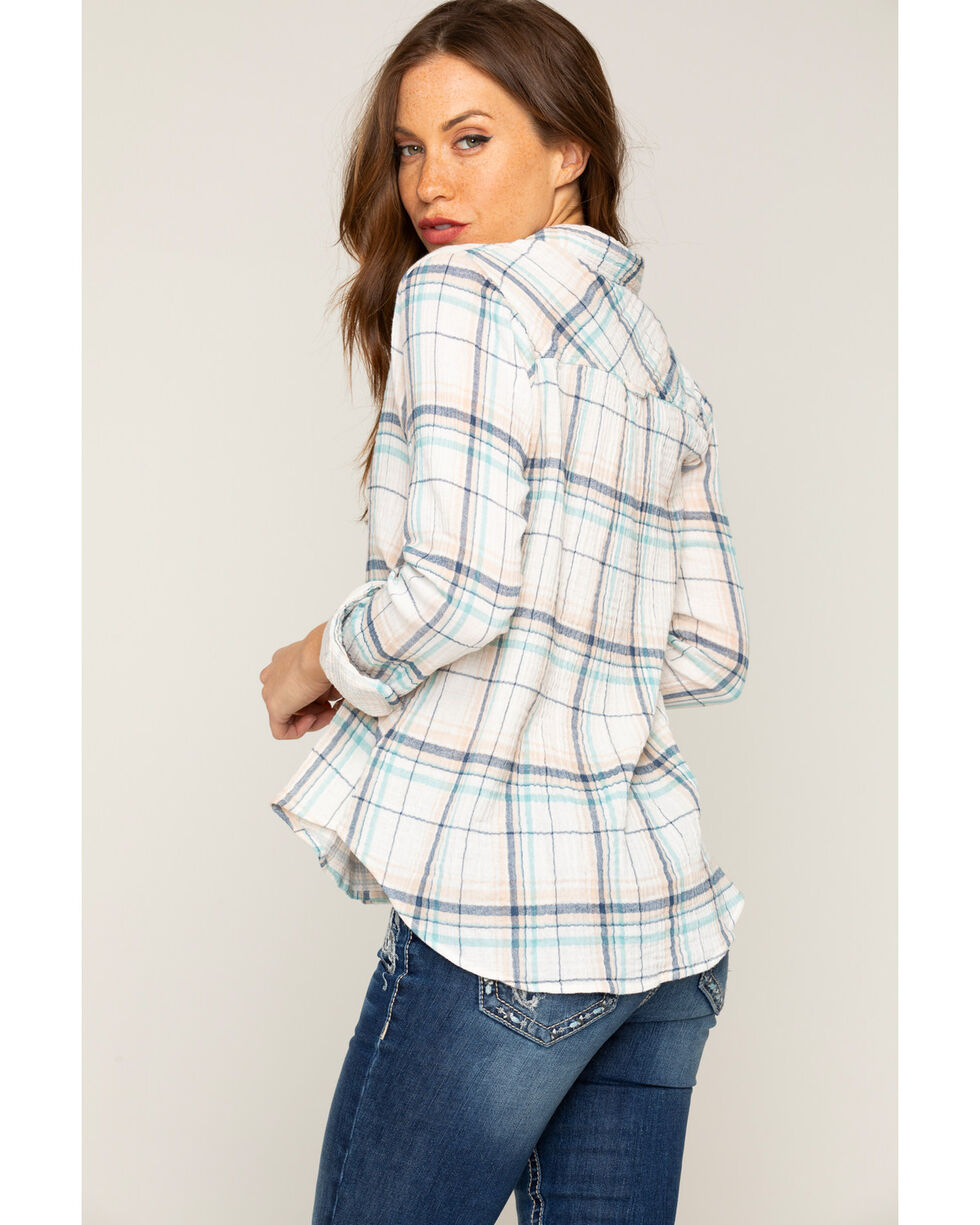 Shyanne Women's Crinkle Plaid Embroidered Long Sleeve Shirt, Ivory, hi-res