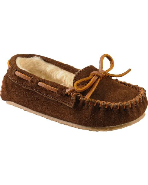 Minnetonka Cassie Kids' Moccasins, Chocolate, hi-res