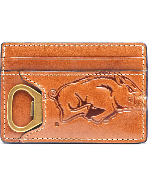 Jack Mason Men's Arkansas Sideline ID Card Case , Brown, hi-res
