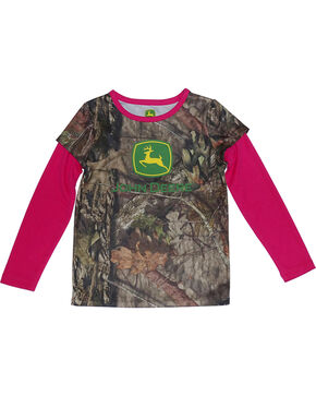 John Deere Toddler Girls' Camo Trademark Shirt , Camouflage, hi-res
