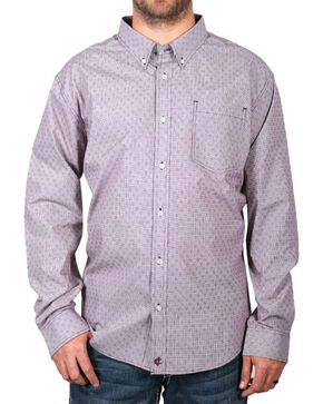 Cody James® Men's Pattern Long Sleeve Shirt , Burgundy, hi-res