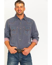 Ryan Michael Men's Navy Yarn Dye Patina Canvas Shirt , , hi-res