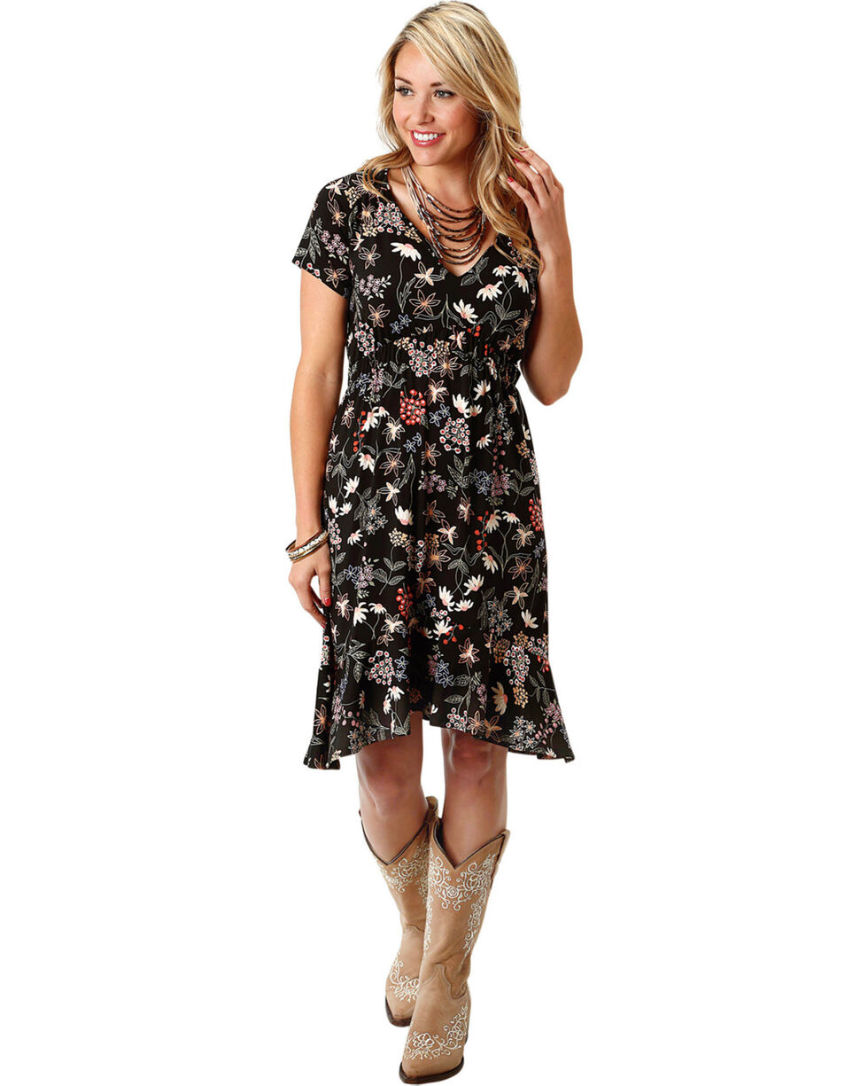 Roper Women's Short Sleeve Floral Print Dress, Black, hi-res