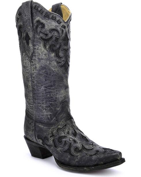 Corral Women's Metallic Stingray Inlay Western Boots, Grey, hi-res