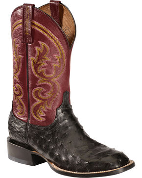 Lucchese Men's Josiah Full Quill Ostrich Western Boots, Black, hi-res