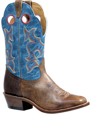 Boulet Damasko Taupe Roughstock Cowboy Boots - Square Toe, Taupe, hi-res