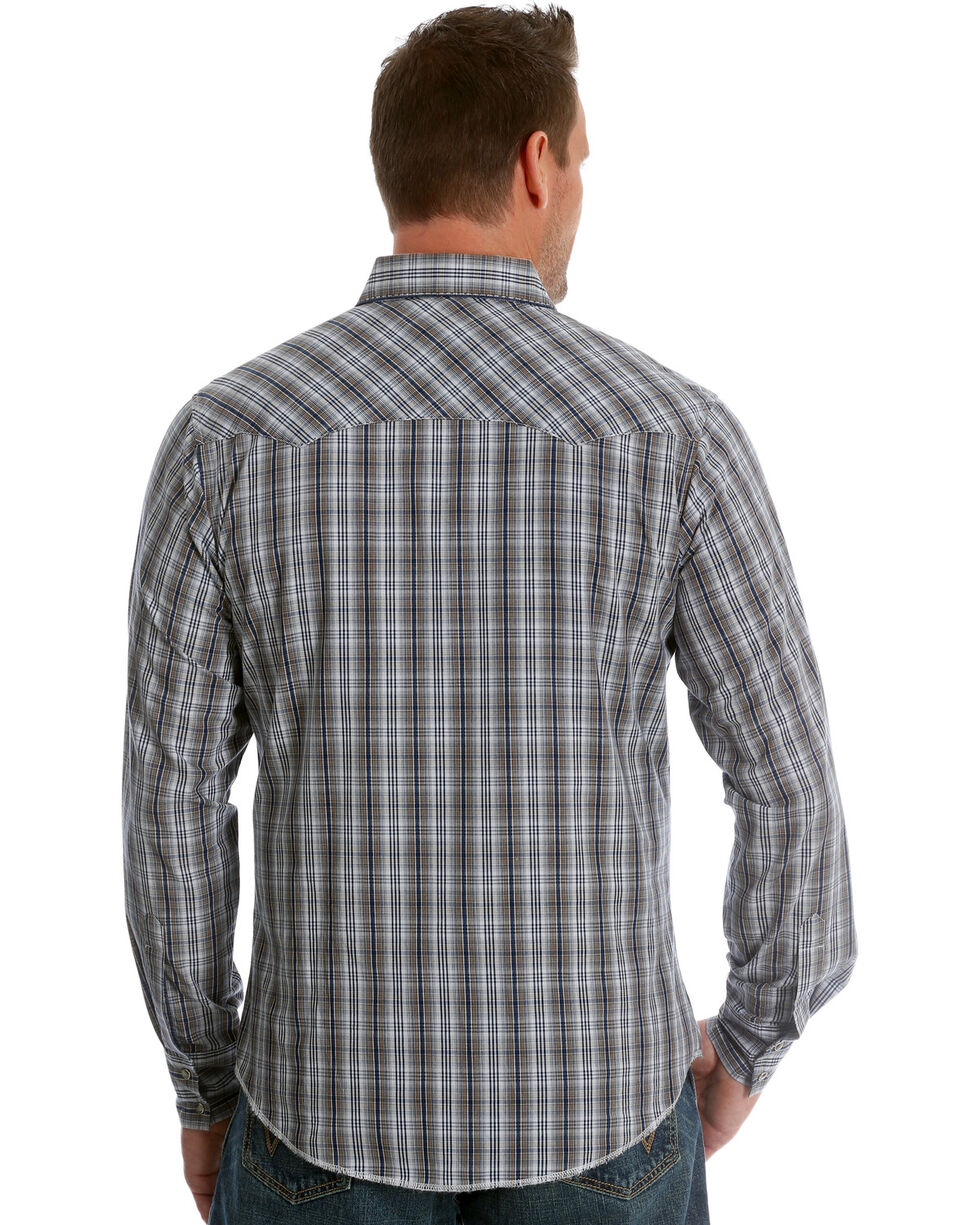 Wrangler Men's Navy/Brown Plaid Fashion Long Sleeve Snap Shirt, Blue, hi-res