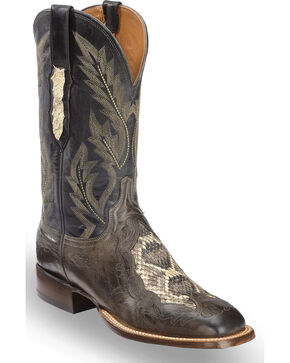 Lucchese Men's Grey Bartley Ostrich and Snake Boots - Square Toe , Grey, hi-res