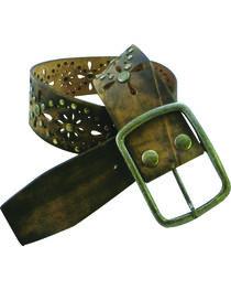 Roper Women's Brown Floral Cutouts Belt, , hi-res