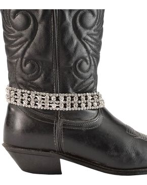 Rhinestone Chain Boot Bracelet, Silver, hi-res