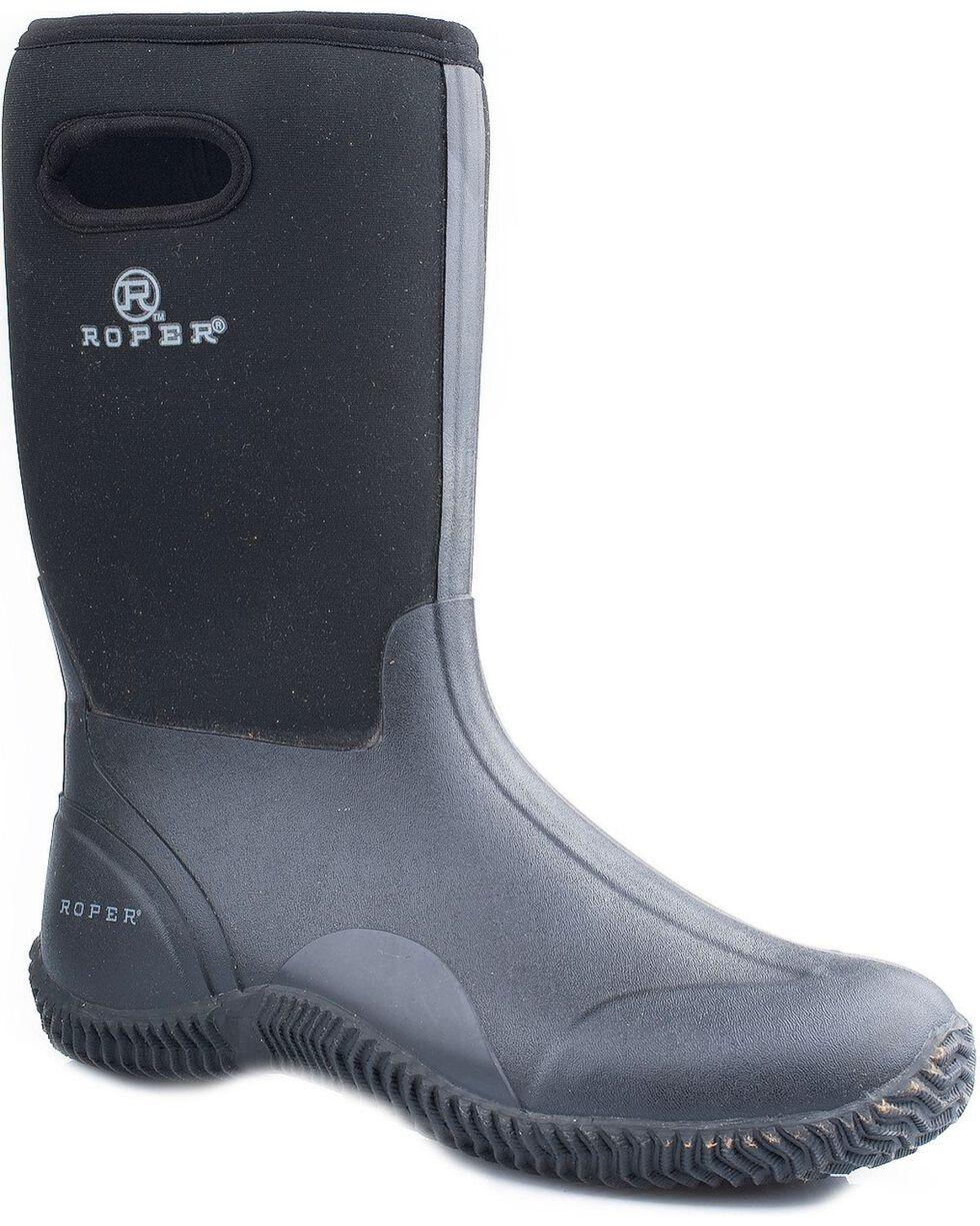 Roper Men's Neoprene Barnyard Work Boots, Black, hi-res
