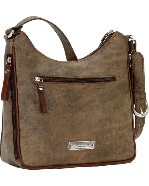 American West Women's Annie's Secret Collection Shoulder Bag, Rustic Brn, hi-res