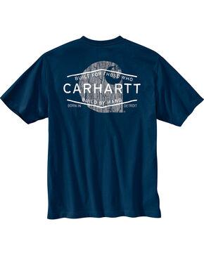 Carhartt Men's Navy Workwear Graphic Branded 'C' Pocket T-Shirt, Navy, hi-res