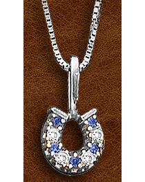 Kelly Herd Sterling Silver Clear and Blue Horseshoe Pendant , , hi-res