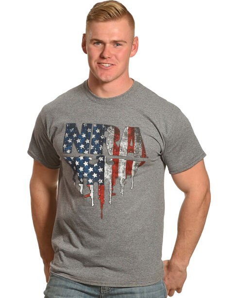 NRA Men's Grey Flag Eagle with Gun-Tipped Wings Tee , Grey, hi-res