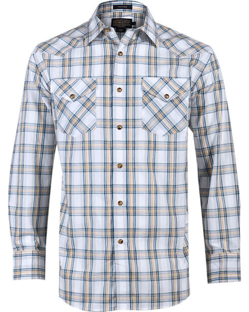 Pendleton Men's Plaid Long Sleeve Western Shirt, White, hi-res