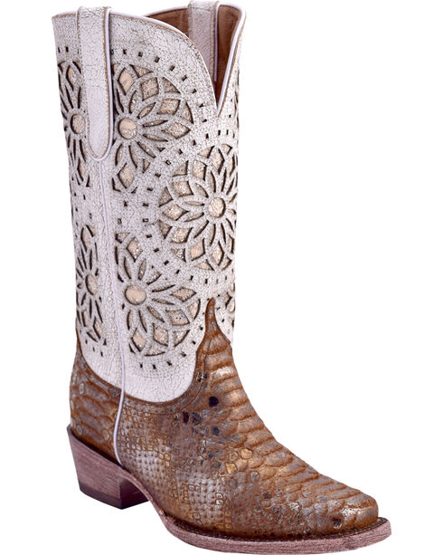 Ferrini Women's Python Print Western Boots - Square Toe, , hi-res