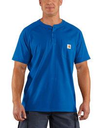 Carhartt Men's Force Cotton Blue Henley Shirt, , hi-res