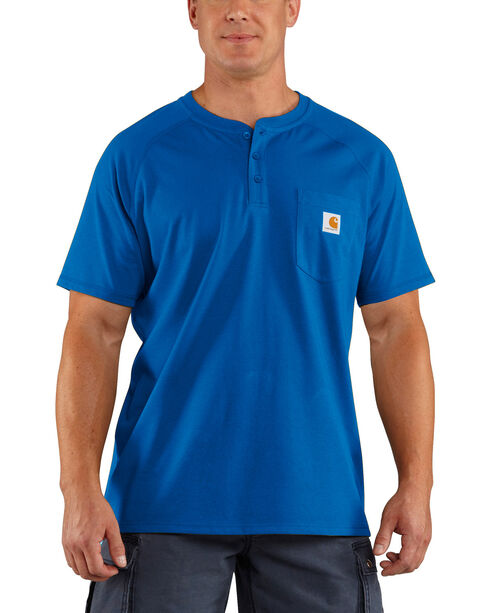 Carhartt Men's Force Cotton Blue Henley Shirt, Med Blue, hi-res
