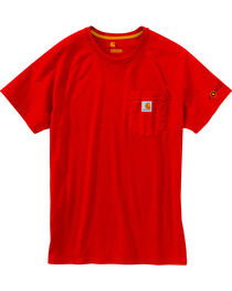Carhartt Men's Red Force Cotton Delmont Short Sleeve Shirt - Big and Tall, Red, hi-res
