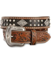 Nocona Black & Tan Bling Western Belt, , hi-res