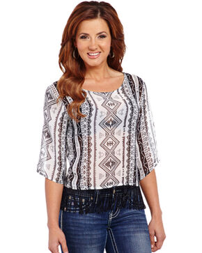 Cowgirl Up Women's Geometric Printed Chiffon Top with Fringe, Blk/white, hi-res