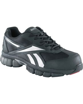 Reebok Men's Ketia Athletic Oxford Work Shoes - Composition Toe, Black, hi-res