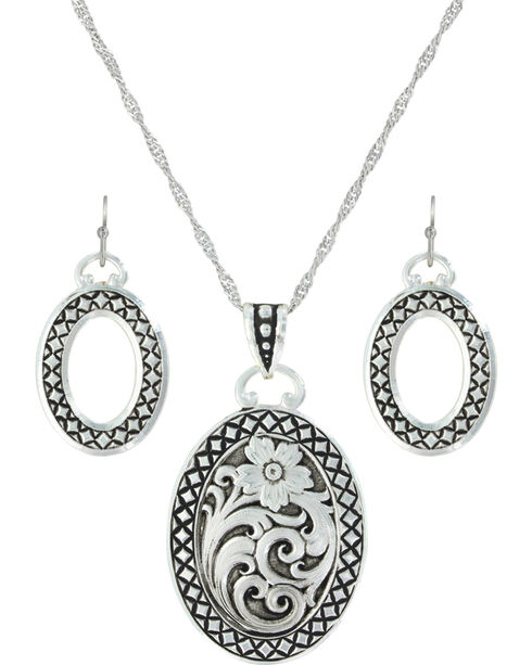Montana Silversmiths Women's Stitched In The Wilderness Jewelry Set , Silver, hi-res