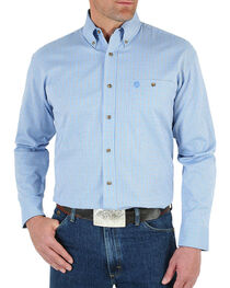Wrangler Men's Blue George Strait Ombre Print Shirt - Tall , , hi-res