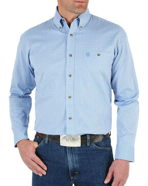 Wrangler Men's Blue George Strait Ombre Print Shirt - Tall , Blue, hi-res