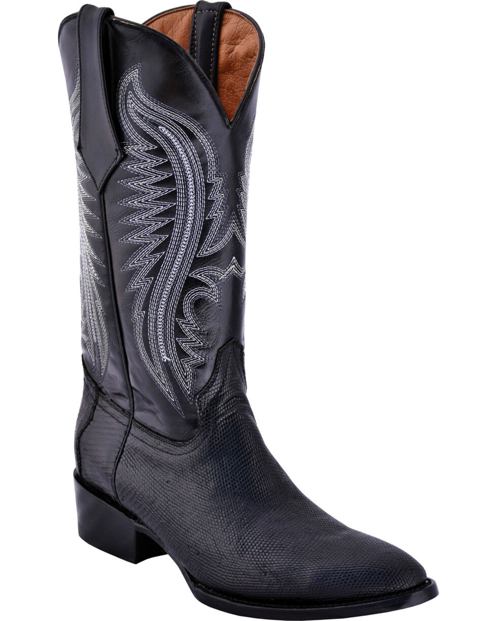 Ferrini Men's Black Lizard Belly Boots - Round Toe , Black, hi-res