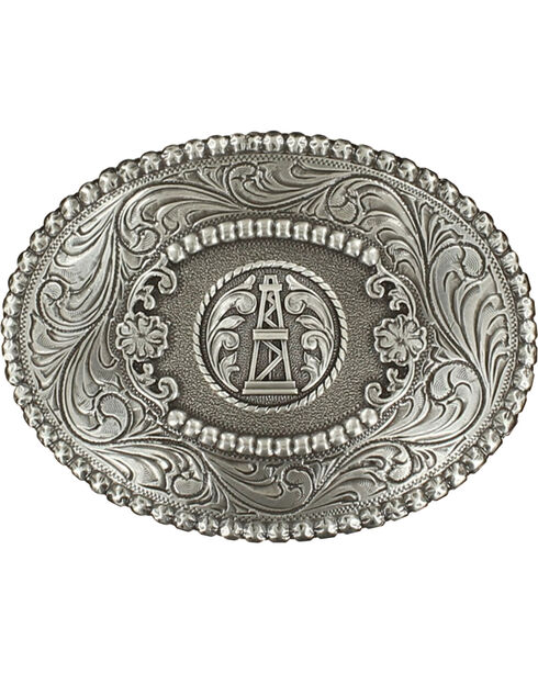 M&F Western Oil Derrick Belt Buckle, Silver, hi-res