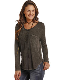 Rock & Roll Cowgirl Women's Mineral Wash Henley, , hi-res
