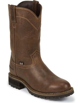 "Justin Men's II 10"" Waterproof Pull-On Work Boots, Tan, hi-res"